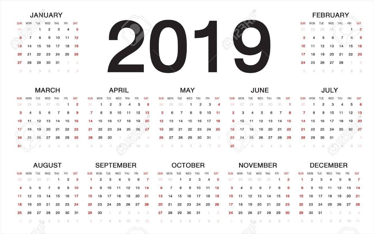 Calendar 2019, Week Starts From Sunday, Business Template Royalty Week 1 Calendar 2019