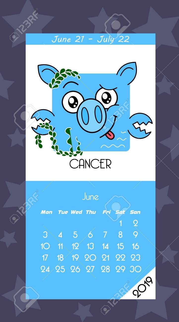 Calendar 2019 With Horoscope Signs Zodiac Symbols. Flat Colored 2019 Zodiac Calendar