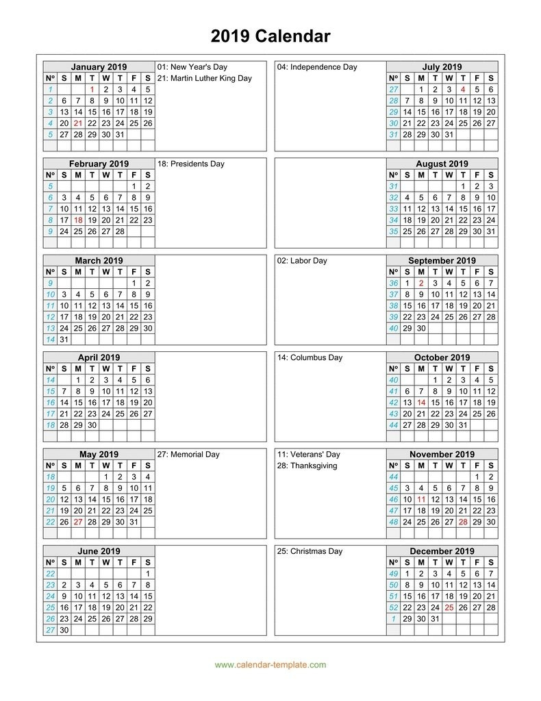 Calendar 2019 With Months In Columns 2 Column Calendar 2019