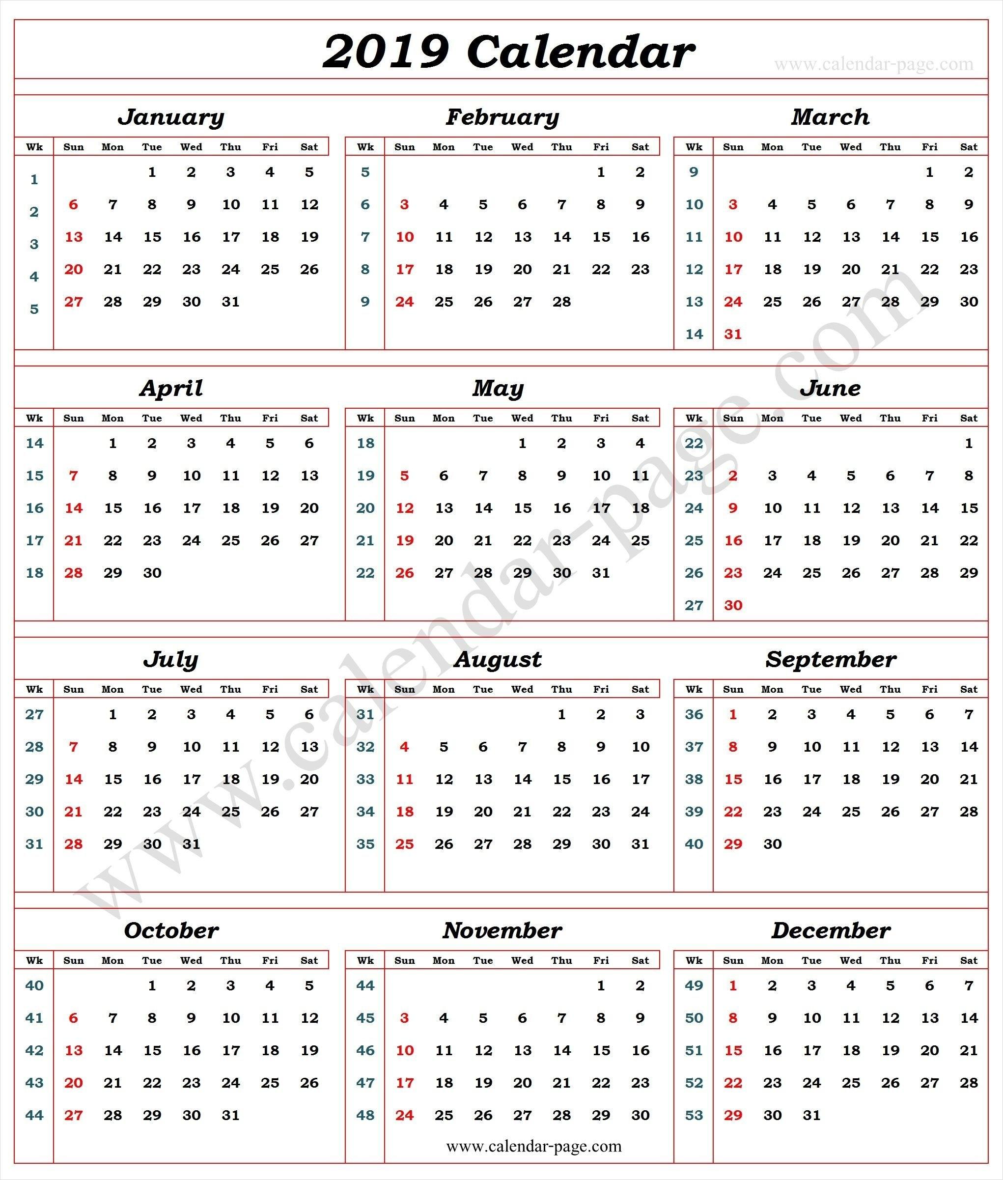 Calendar 2019 With Week Numbers | 2019 Calendar Template | Pinterest Calendar 2019 By Week