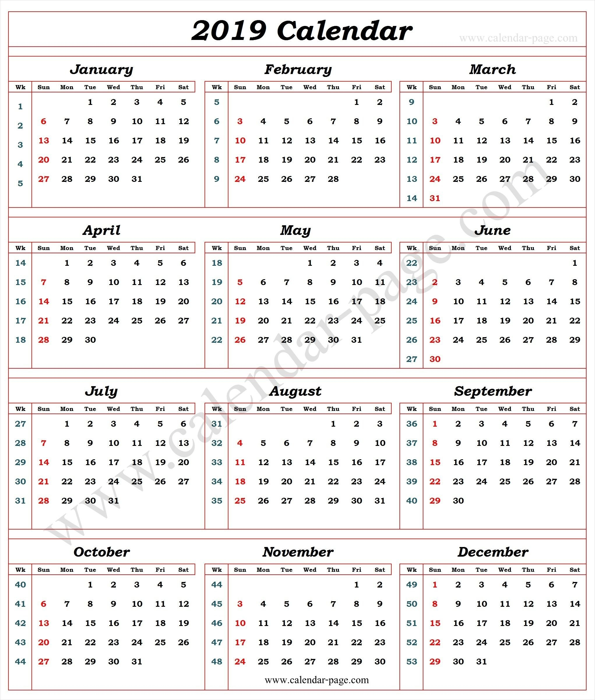 Calendar 2019 With Week Numbers | 2019 Calendar Template | Pinterest Week 7 Calendar 2019