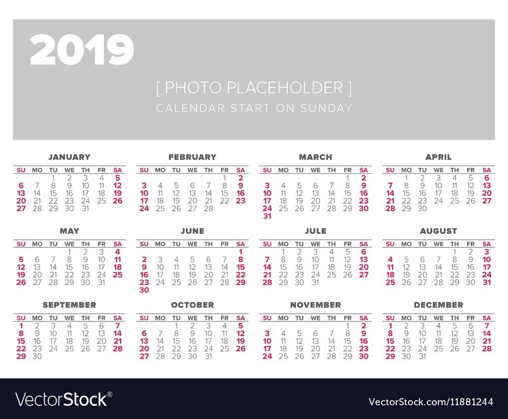 Calendar 2019 Year Design Template Royalty Free Vector Image Calendar 2019 Template Free