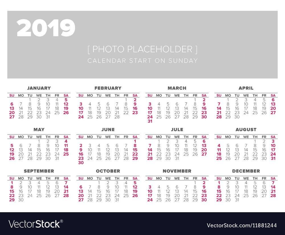 Calendar 2019 Year Design Template Royalty Free Vector Image Calendar 2019 Vector Download