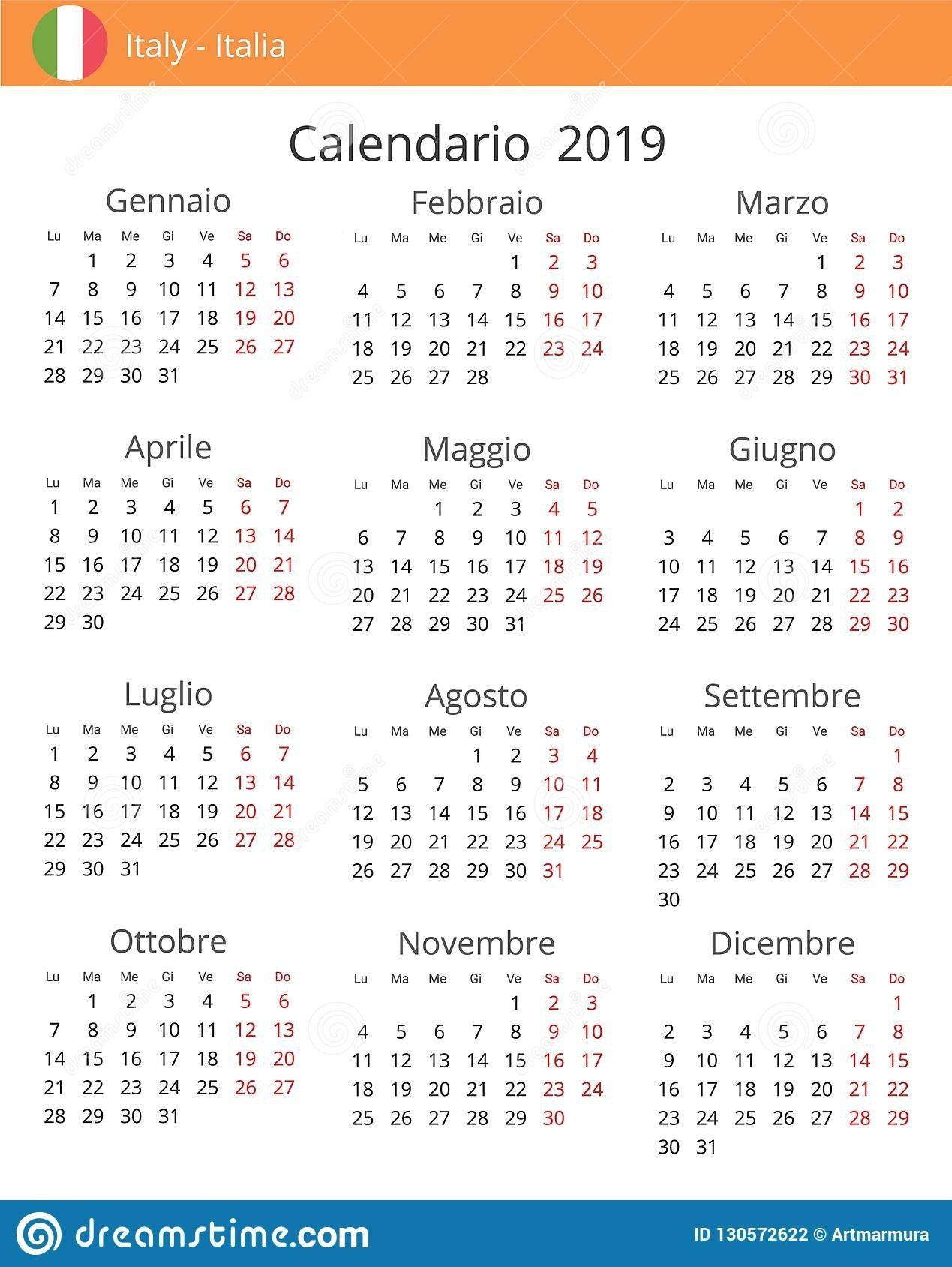Calendar 2019 Year For Italy Country Stock Illustration Calendar 2019 Italy