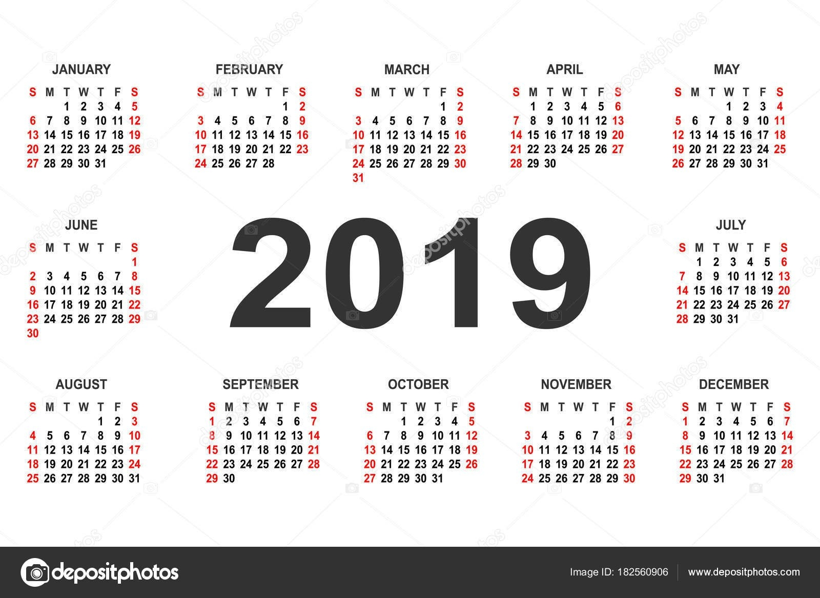 Calendar 2019 Year Vector Design Template — Stock Vector © Forden Calendar 2019 Mexico