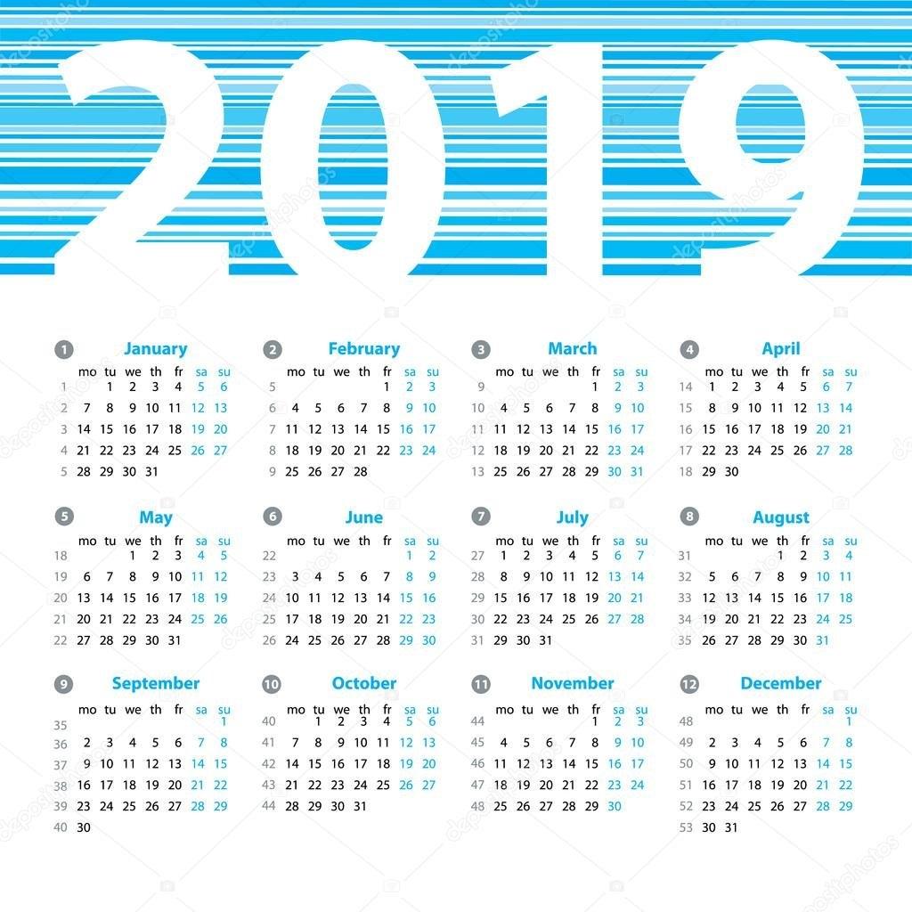 Calendar 2019 Year Vector Design Template With Week Numbers And Calendar Week 35 2019