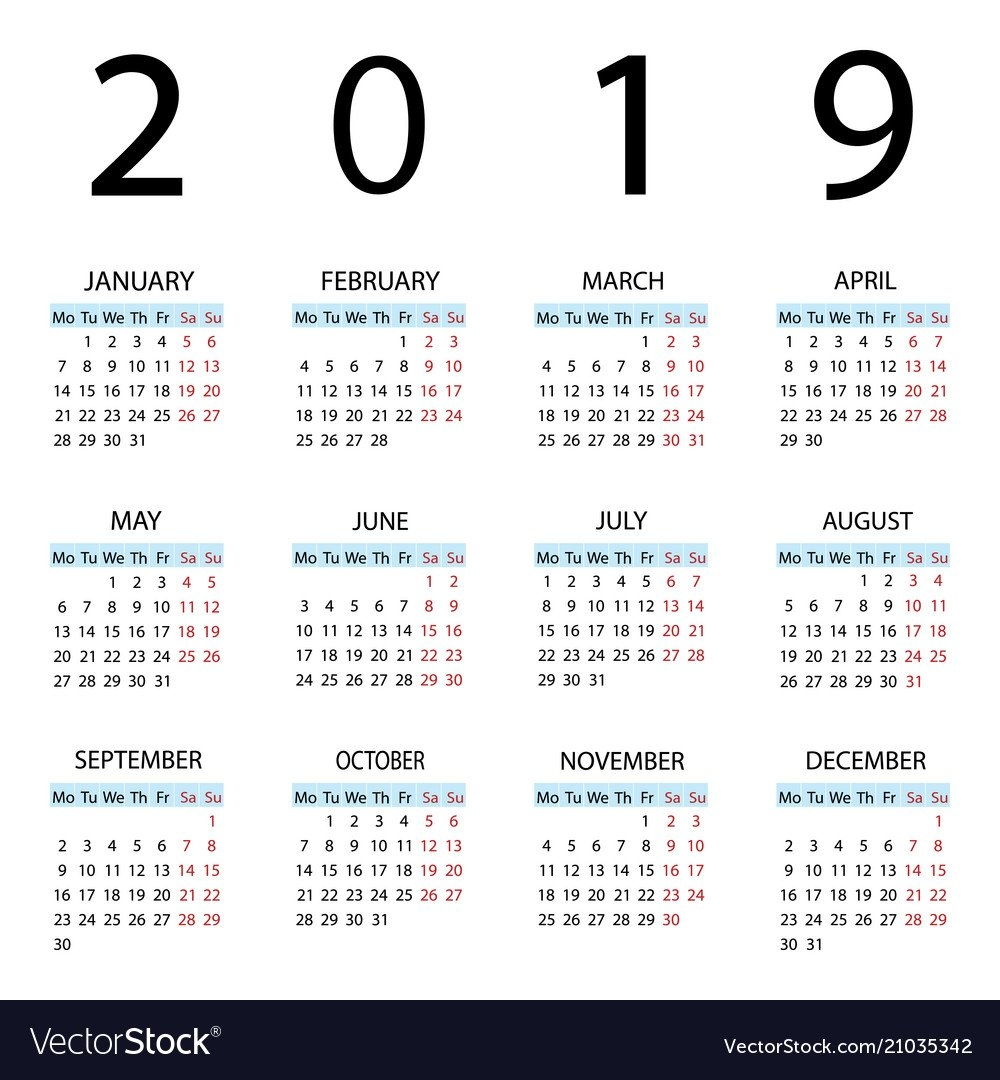 Calendar 2019 Year Week Starts With Monday Vector Image Calendar 2019 Monday Start