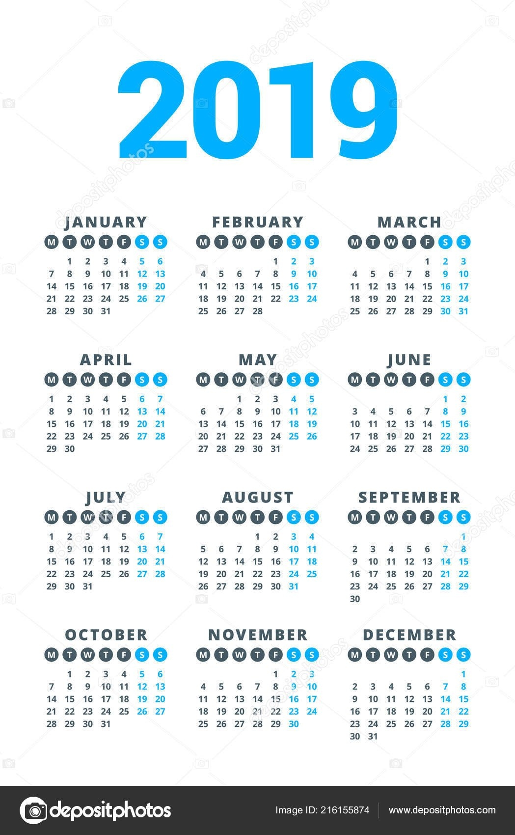 Calendar 2019 Year White Background Week Starts Monday Columns Rows 3 Column Calendar 2019
