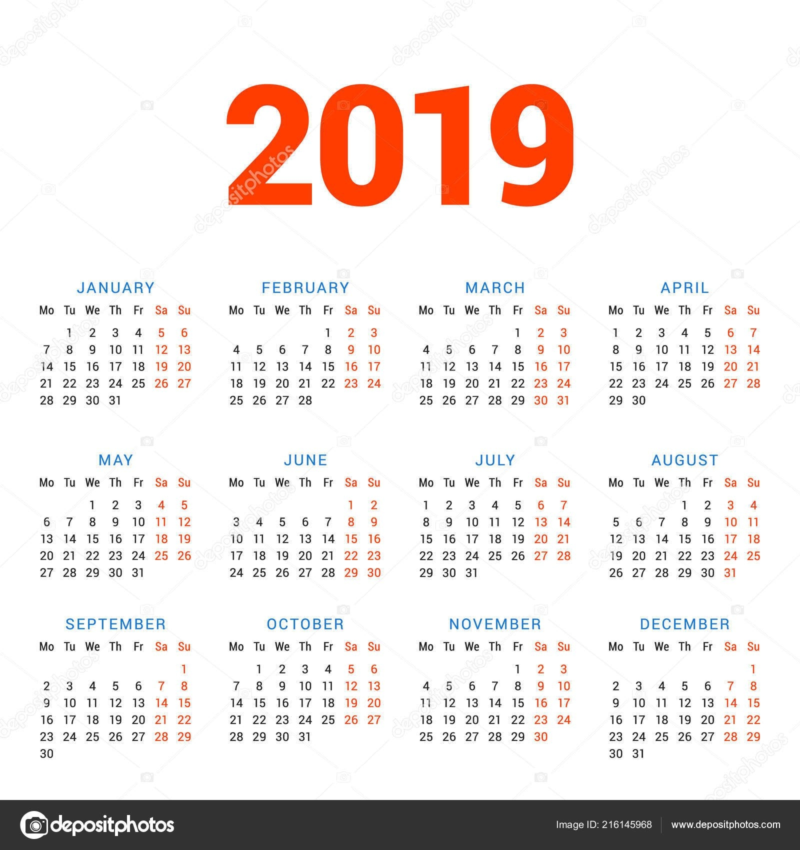 Calendar 2019 Year White Background Week Starts Monday Columns Rows 4 Column Calendar 2019