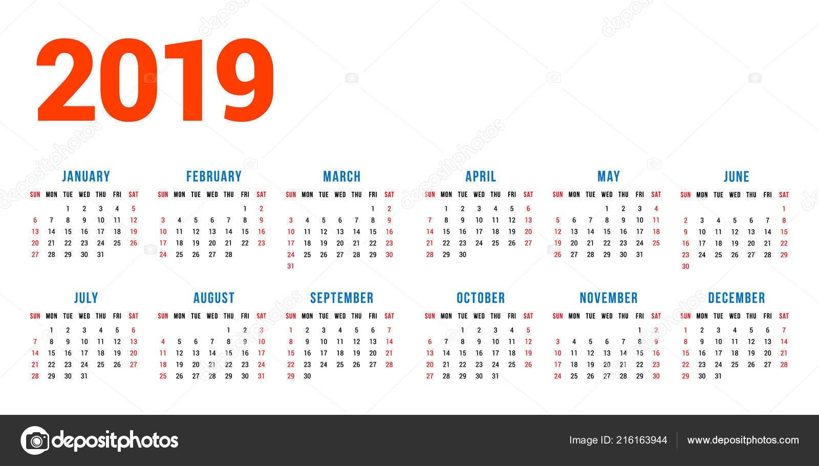 Calendar 2019 Year White Background Week Starts Sunday Columns Rows 2 Column Calendar 2019