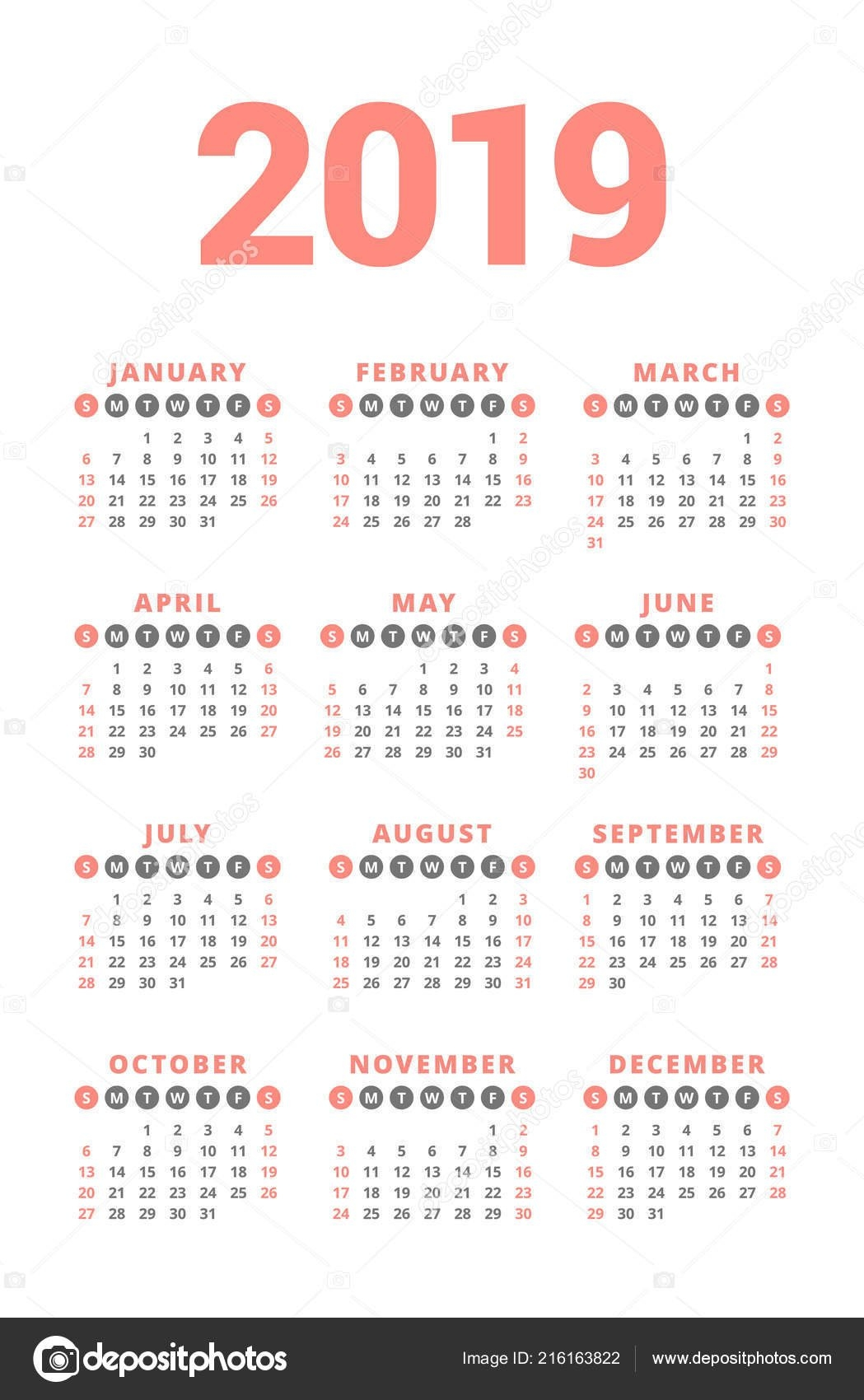 Calendar 2019 Year White Background Week Starts Sunday Columns Rows 4 Column Calendar 2019