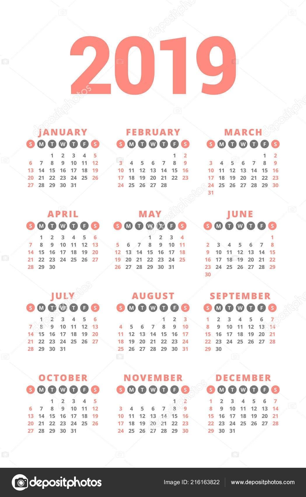 Calendar 2019 Year White Background Week Starts Sunday Columns Rows Calendar 2019 3 Columns