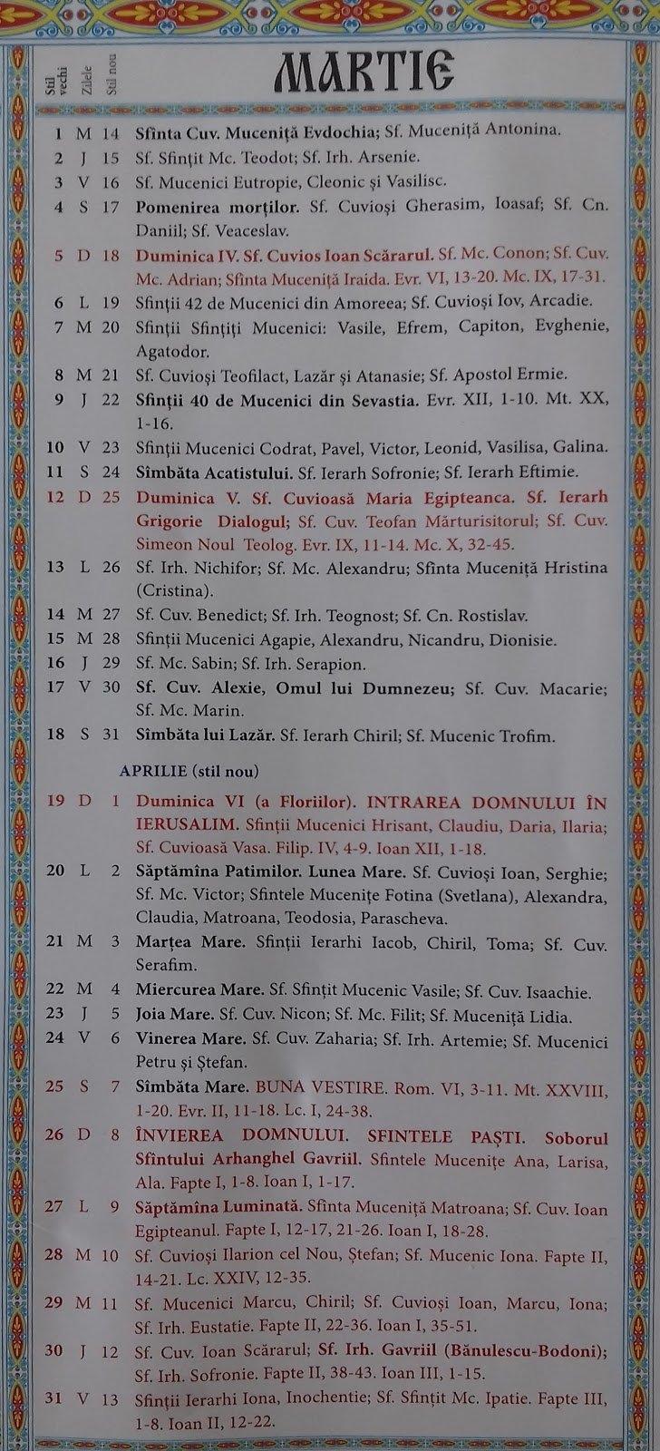 Calendar Crestin Ortodox 2018-2019 Stil Vechi Republica Moldova 8 Iunie 2019 Calendar Ortodox