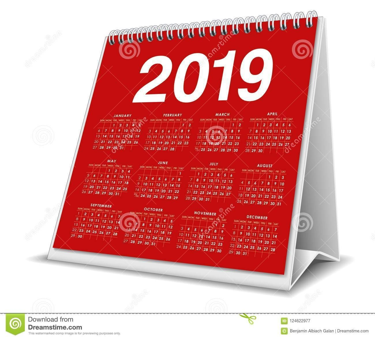 Calendar Desktop 2019 In Red Color Stock Vector - Illustration Of Calendar 2019 3D