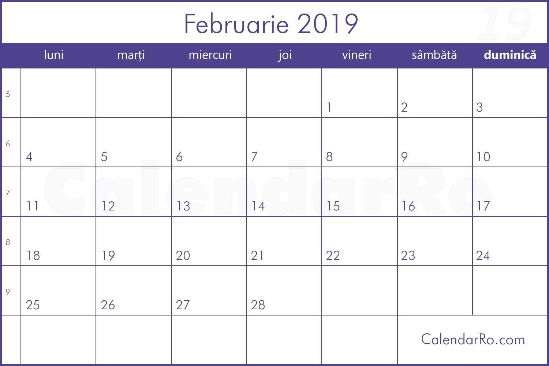 Calendar Februarie 2019 Calendar 2019 Romanesc