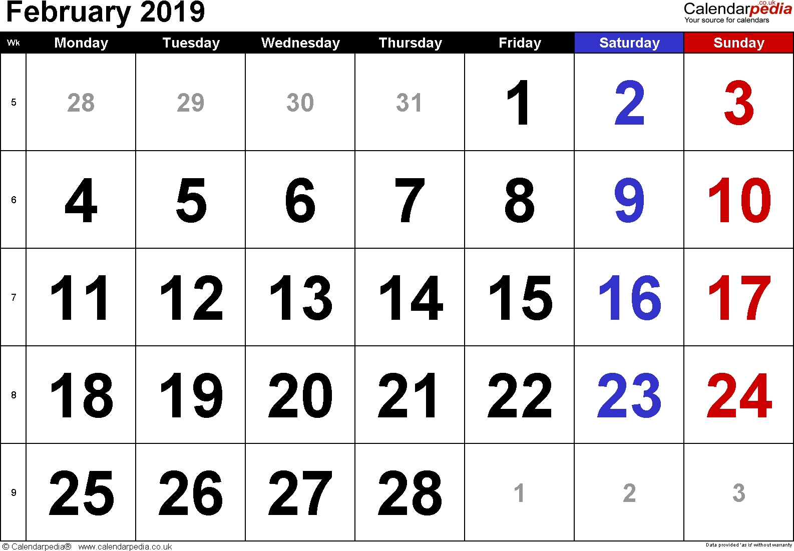 Calendar February 2019 Uk, Bank Holidays, Excel/pdf/word Templates Feb 5 2019 Calendar