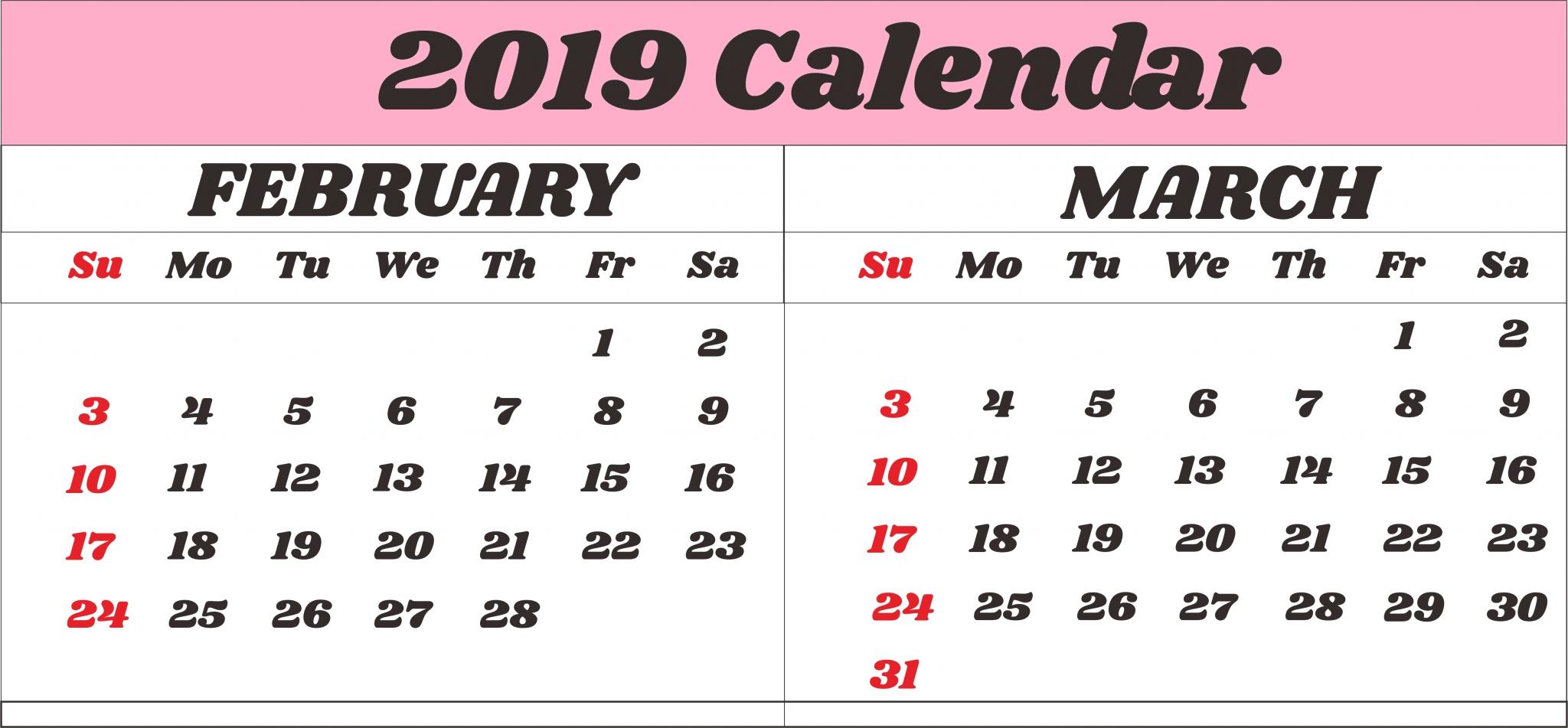 Calendar February March 2019 Printable #feb #february2019 Calendar Feb 9 2019
