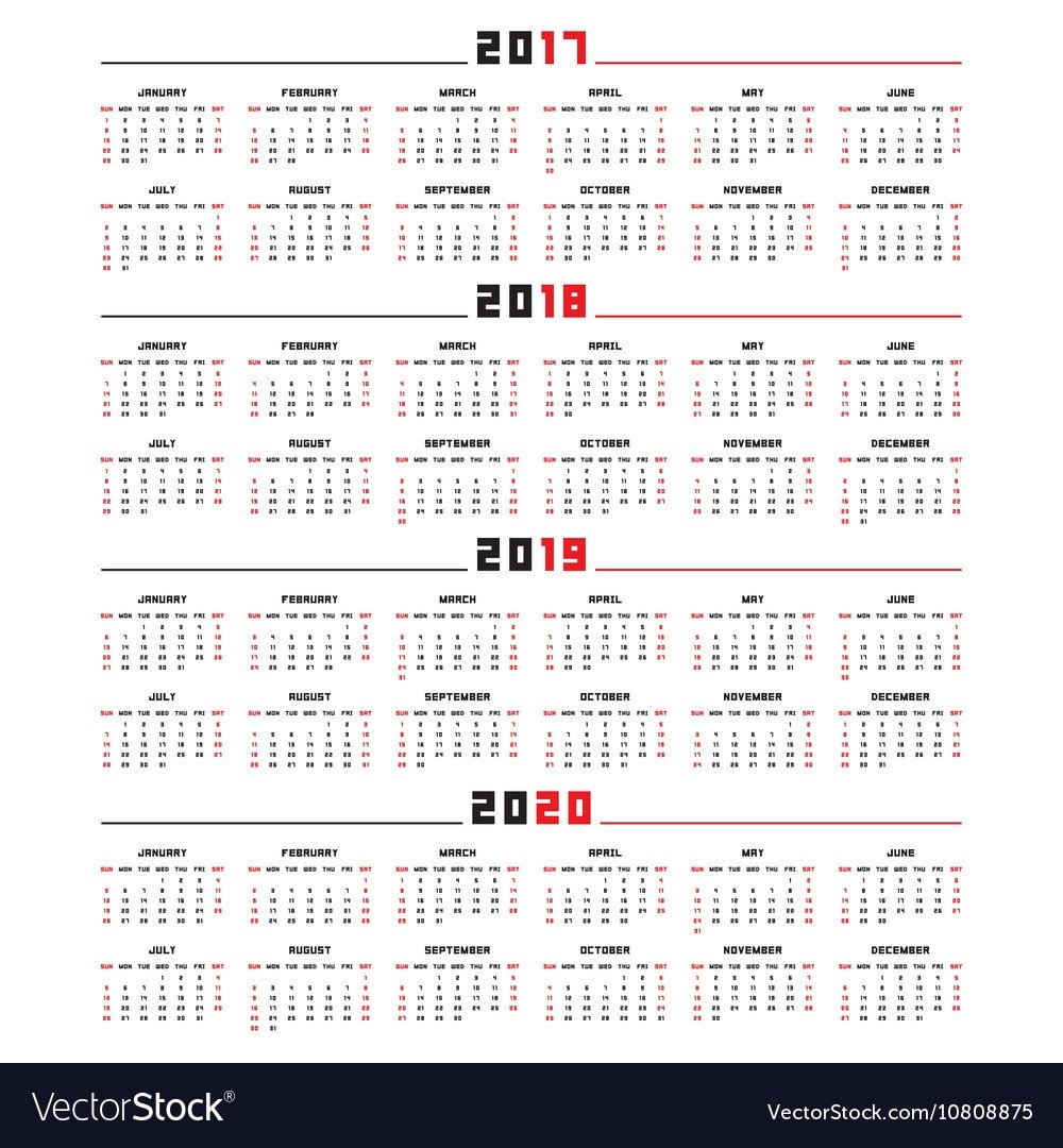 Calendar For 2017 2018 2019 2020 Royalty Free Vector Image Calendar 2019 Vector Download