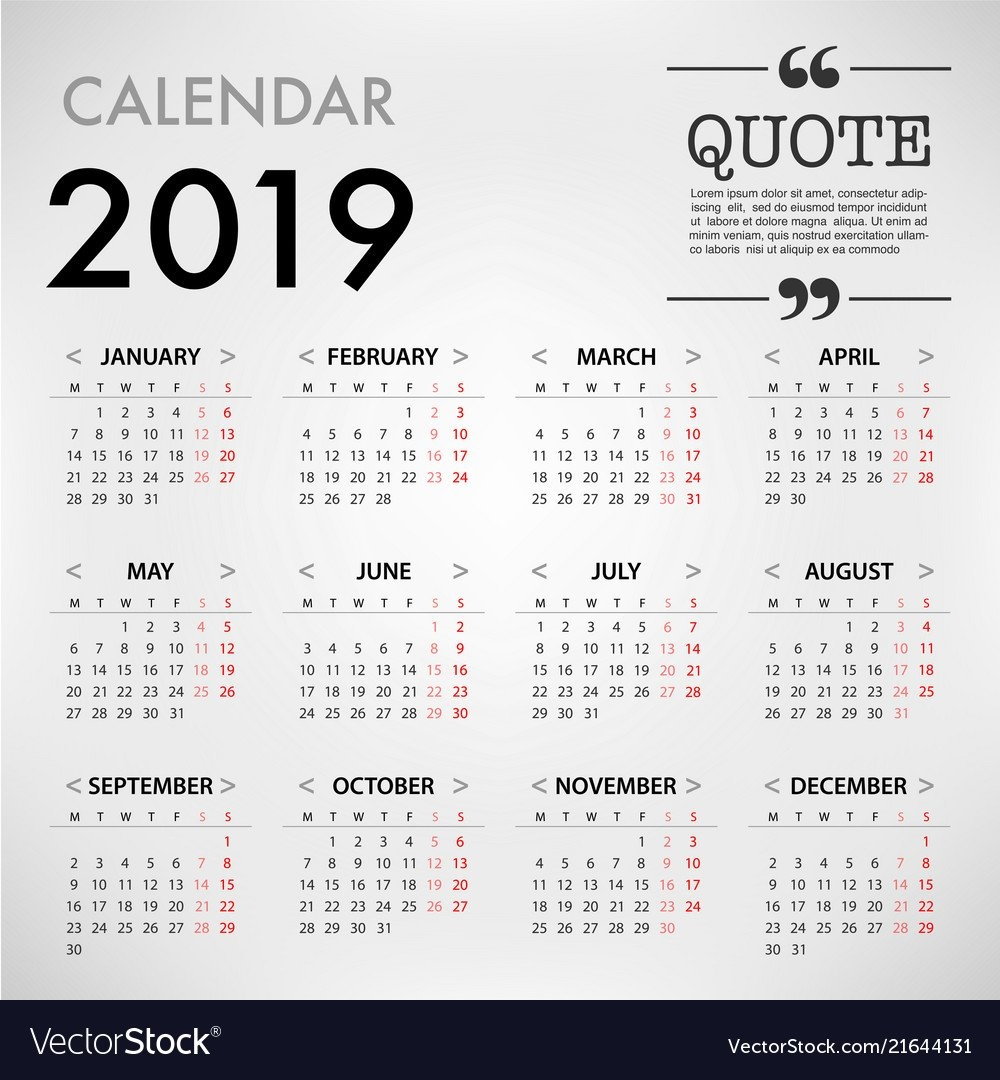 Calendar For 2019 On Grey Background With Quote Vector Image Calendar Week 41 2019