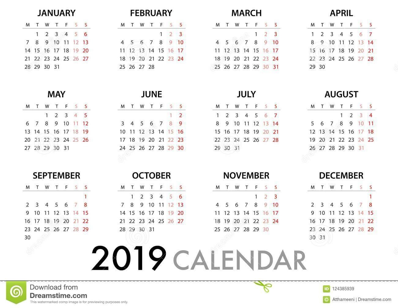 Calendar For 2019 Week Starts Monday. Simple Vector Template Stock Calendar 2019 Monday Start