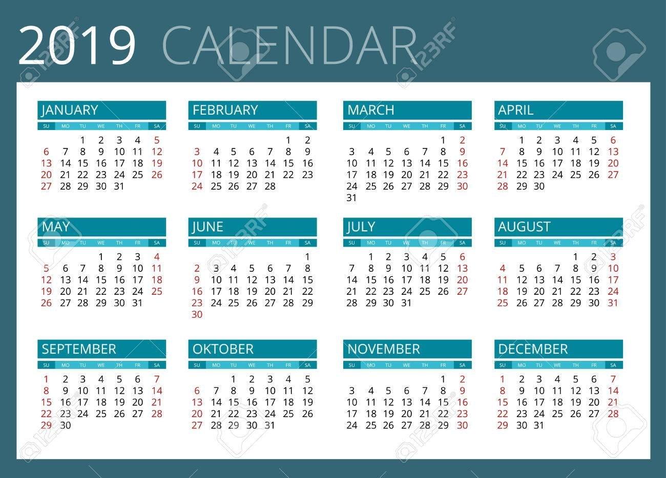 Calendar For 2019. Week Starts Sunday. Simple Vector Design Royalty Calendar Week 4 2019