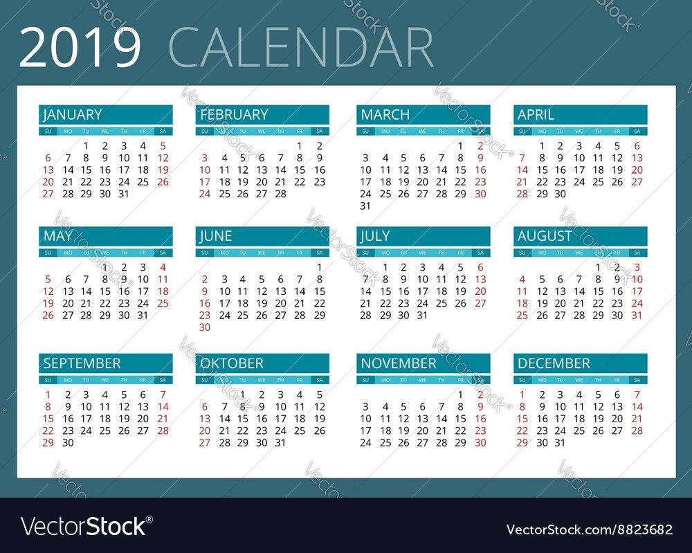 Calendar For 2019 Week Starts Sunday Simple Vector Image Calendar Week 36 2019