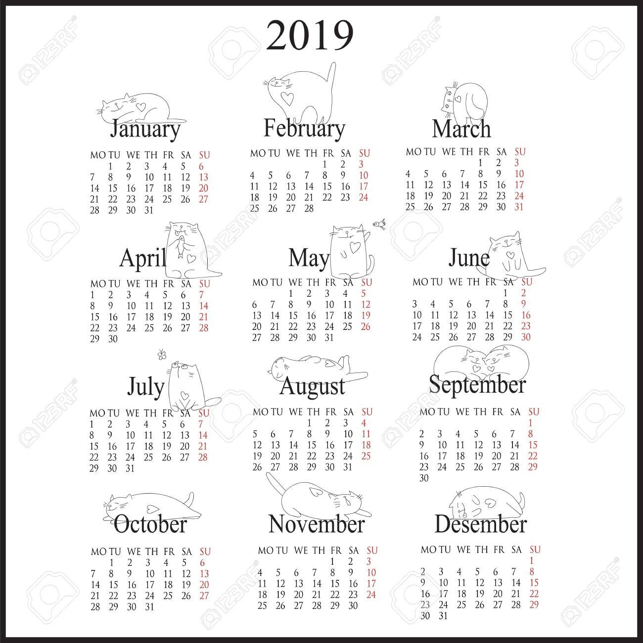 Calendar For 2019 With Cats Decorations. Royalty Free Cliparts Calendar 2019 Cats