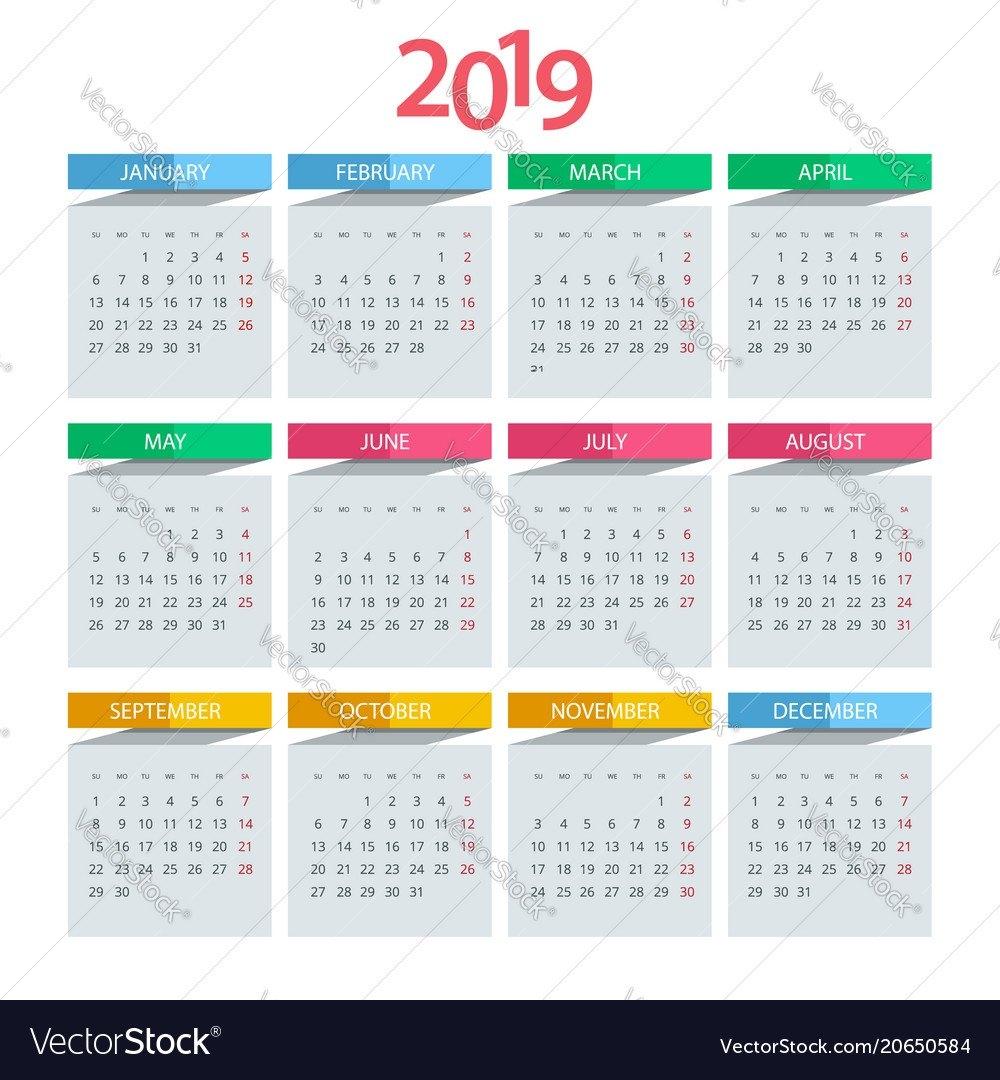 Calendar For 2019 Year Design Print Royalty Free Vector Calendar 2019 Design