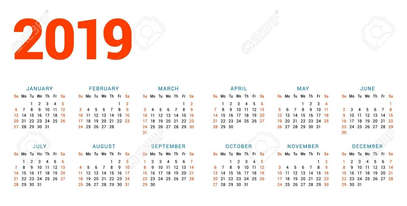 Calendar For 2019 Year On White Background. Week Starts On Sunday 4 Column Calendar 2019