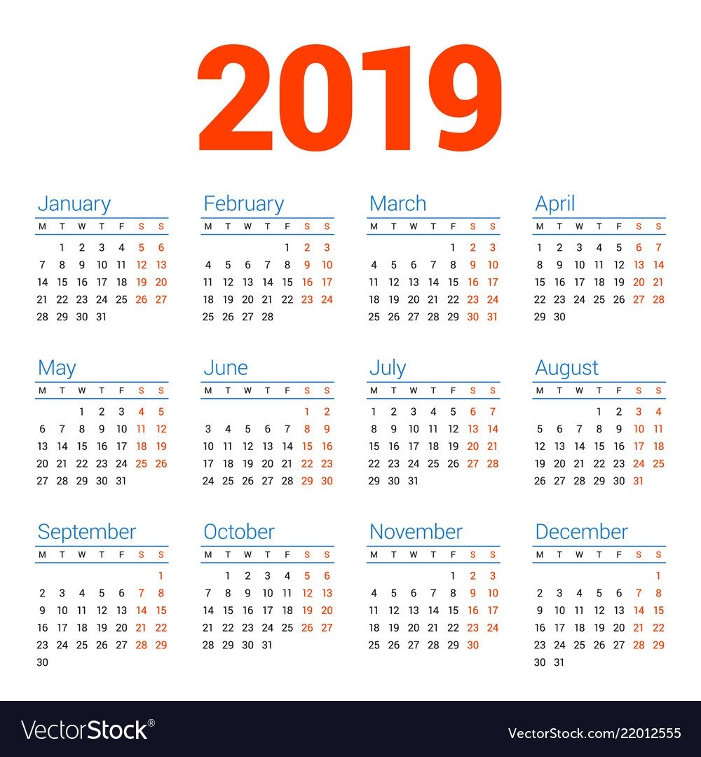 Calendar For 2019 Year On White Background Week Vector Image Calendar Week 4 2019