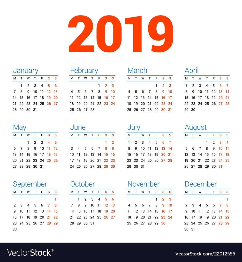 Calendar For 2019 Year On White Background Week Vector Image Calendar Week 8 2019