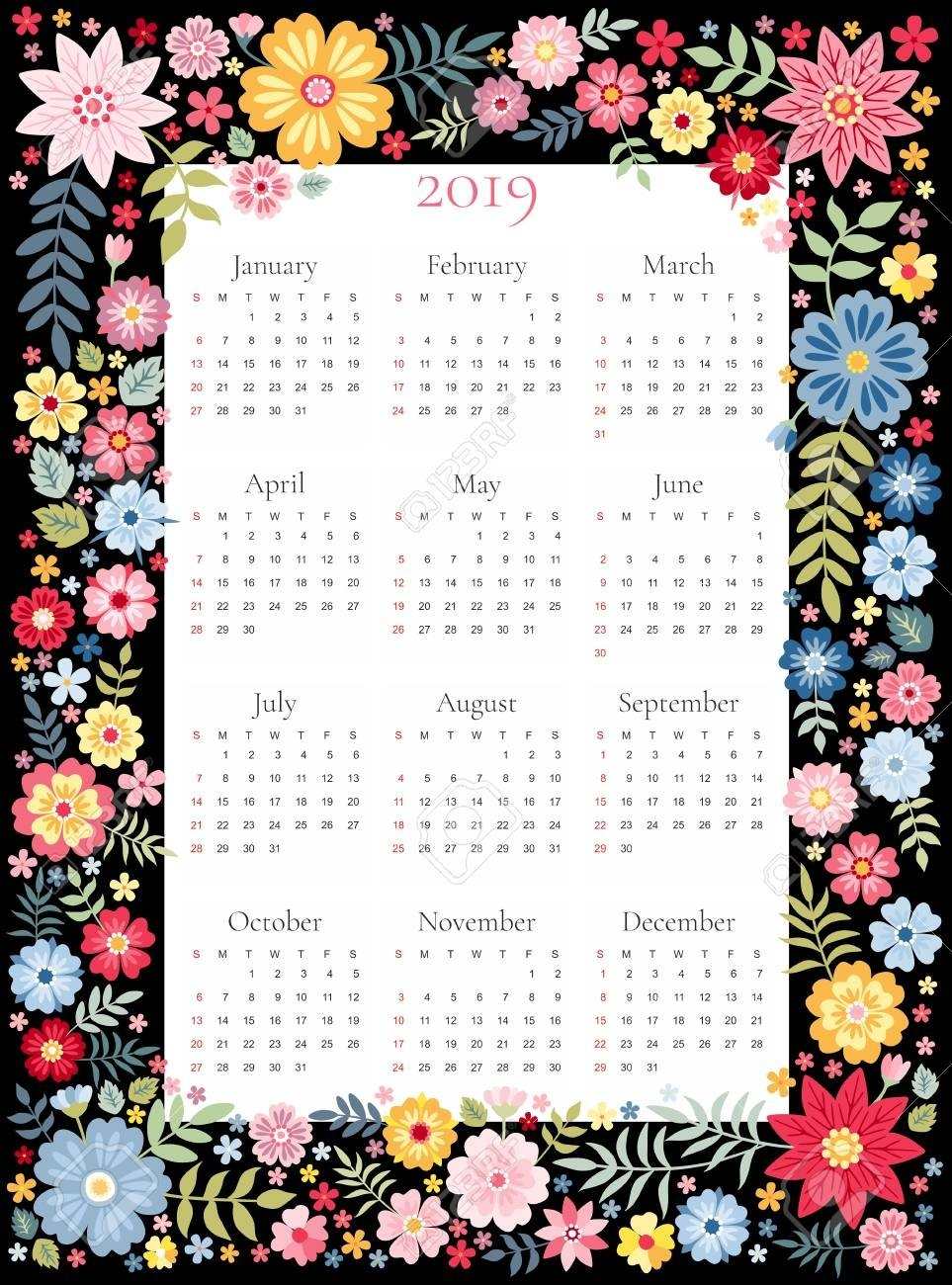 Calendar For 2019 Year. Vector Template In Floral Frame With Calendar 2019 Flowers