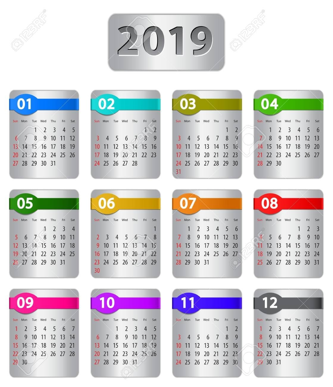 Calendar For 2019 Year With Colorful Stickers. Vector Illustration Calendar 2019 Stickers