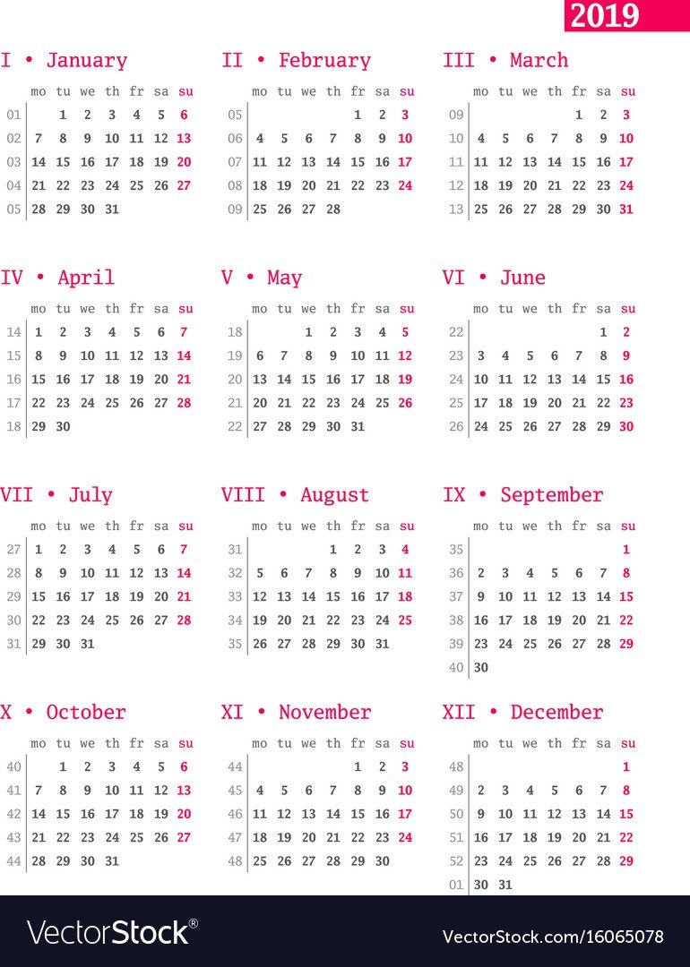 Calendar For 2019 Year With Week Numbers On White Vector Image Calendar Week 8 2019
