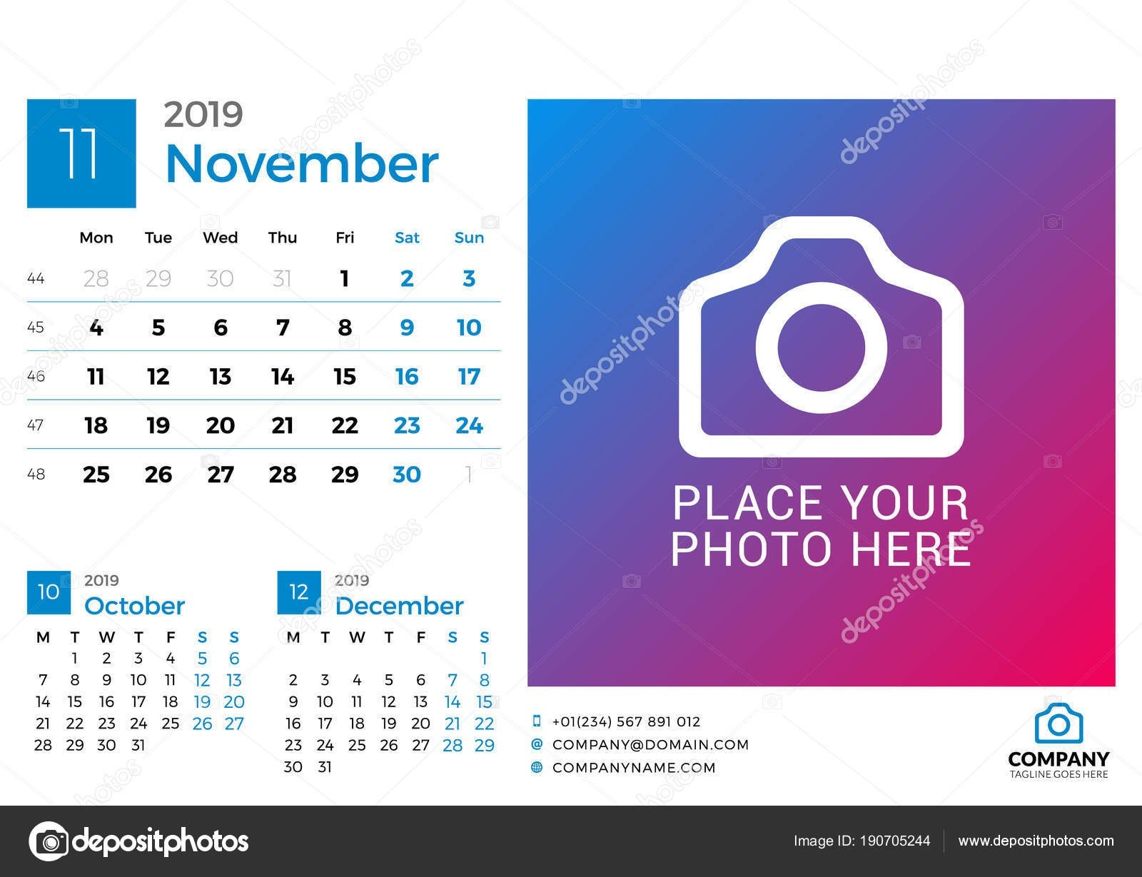 Calendar For November 2019. Vector Design Print Template With Place Calendar Week 46 2019