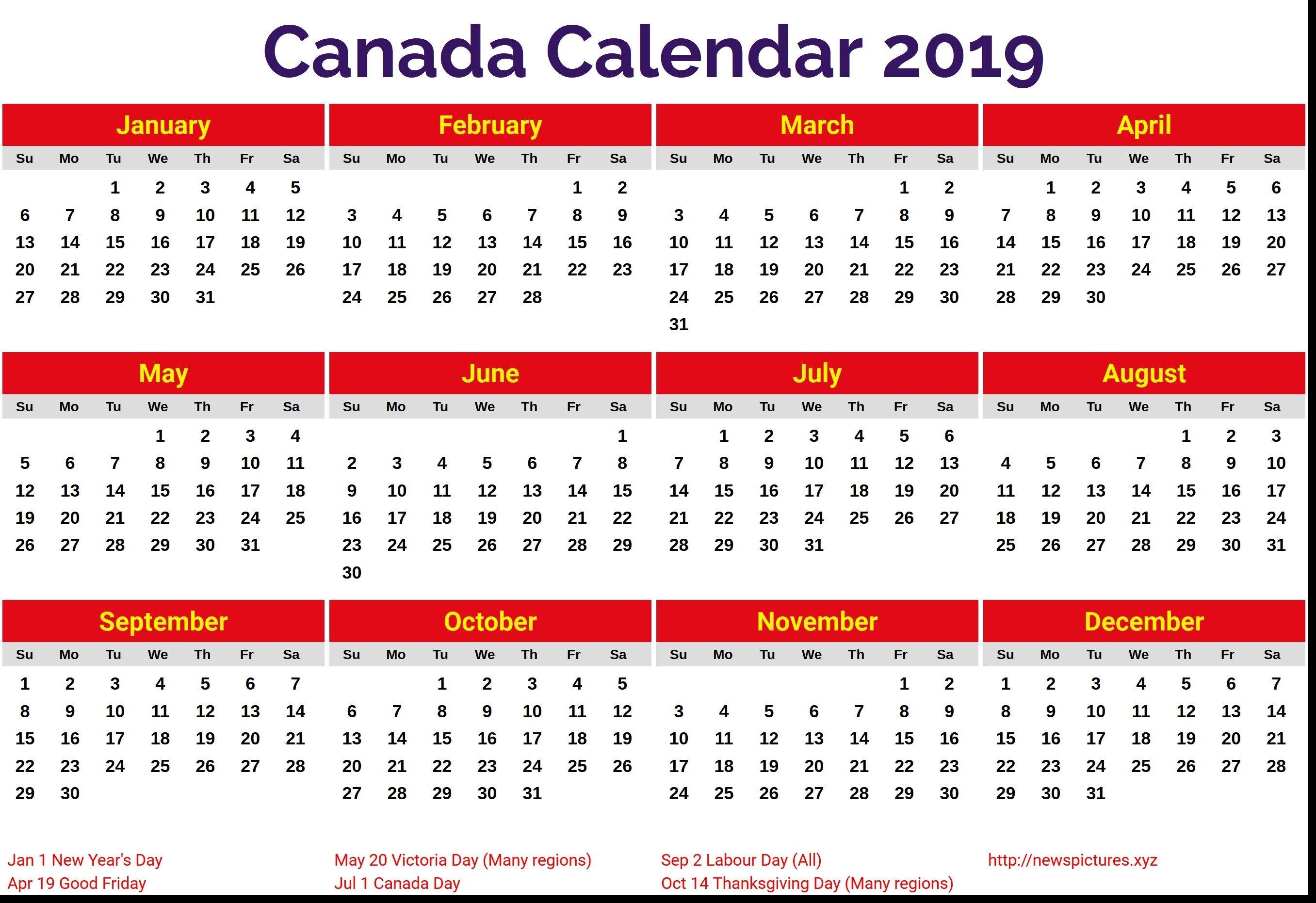 Calendar For Year 2019 Canada - Littledelhisf Calendar Year 2019 Canada