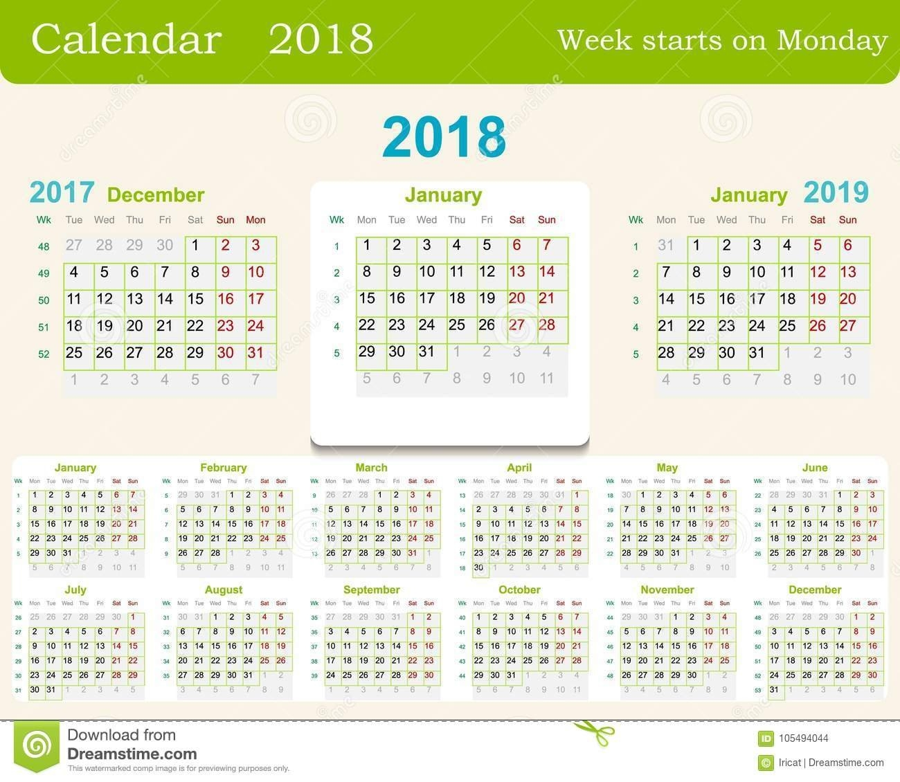 Calendar Grid For 2018 Week Starts From Monday And From December Of Calendar Week 51 2019