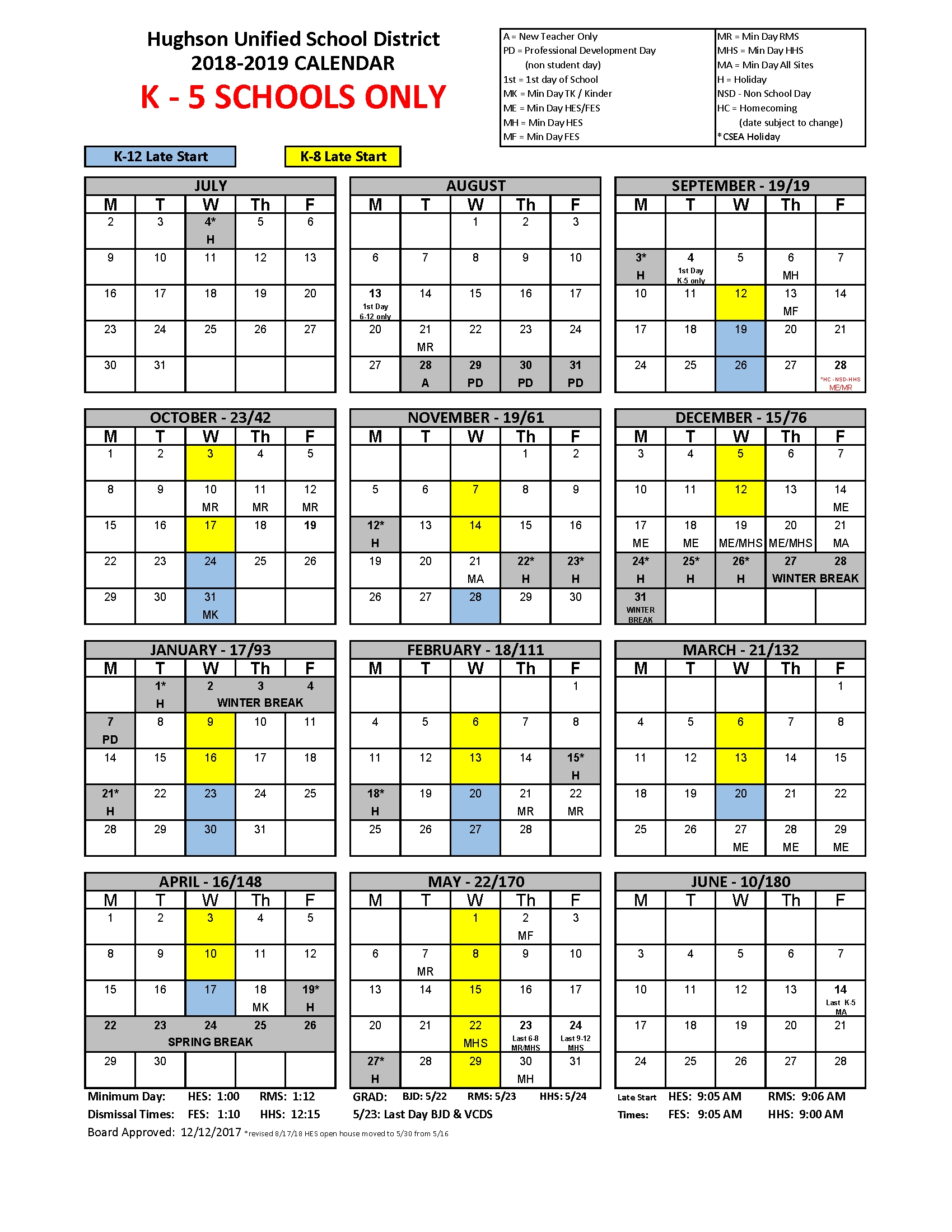 Calendar - Hughson Unified School District J 2019 Calendar