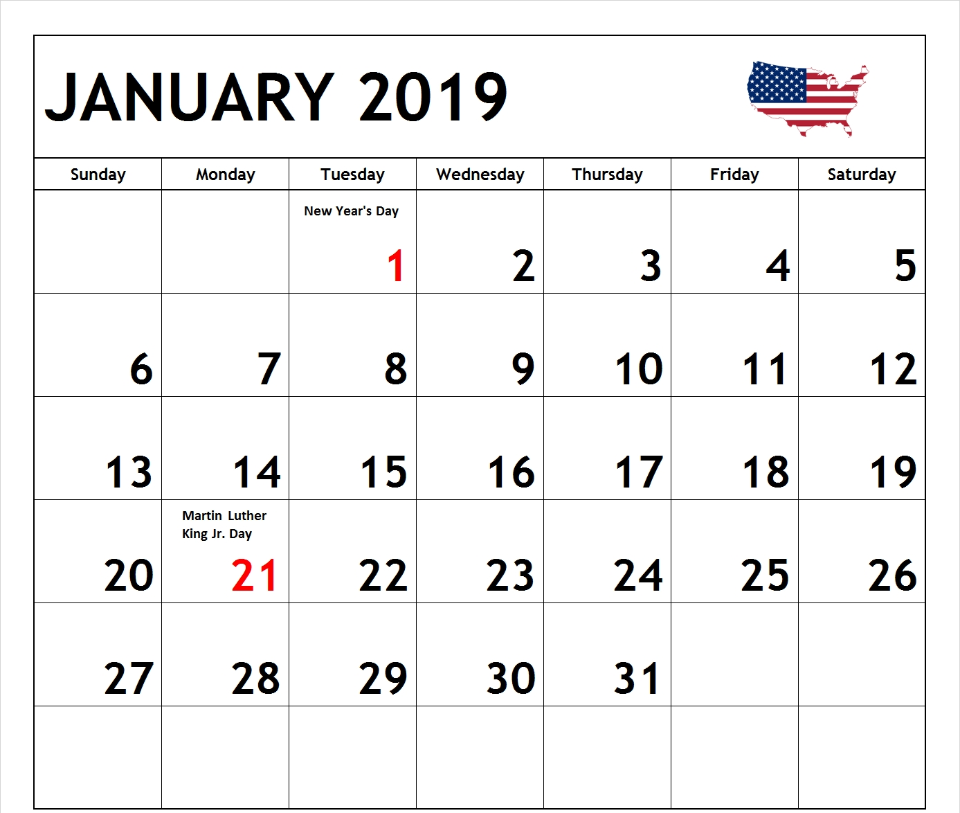 Calendar January 2019 Usa – Free Calendar Templates & Worksheets For Calendar 2019 Usa