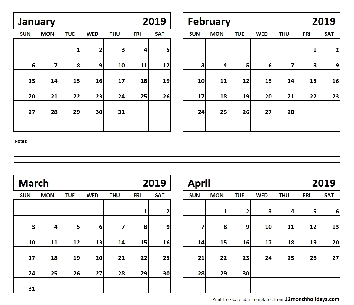 Calendar-January-To-April-2019-Printable - All 12 Month Calendar Calendar 2019 January To April