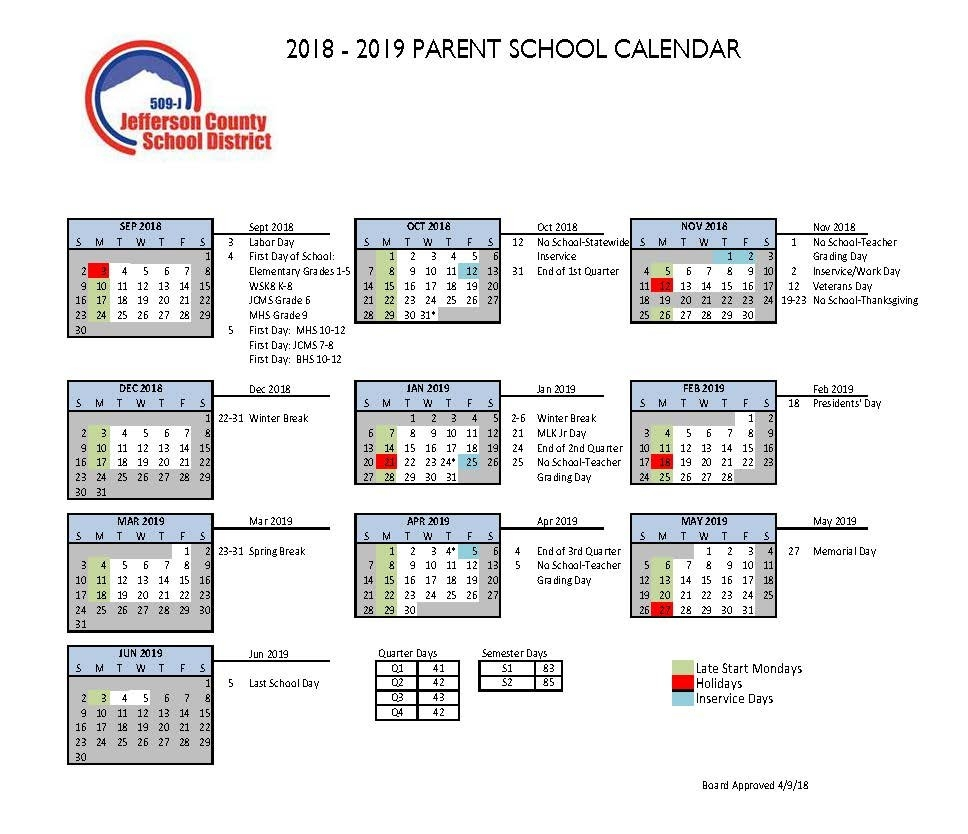 Calendar | Jefferson County School District 509-J School District 5 Calendar 2019
