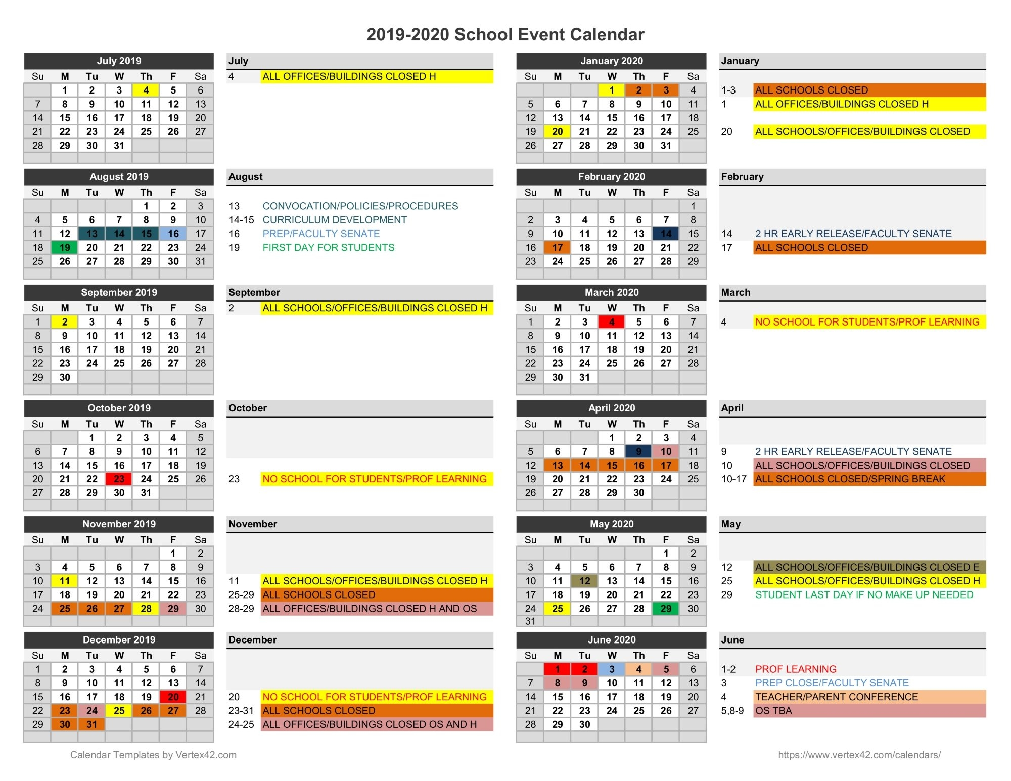 Calendar - Jefferson County Schools Virginia Tech Academic Calendar 2019-20