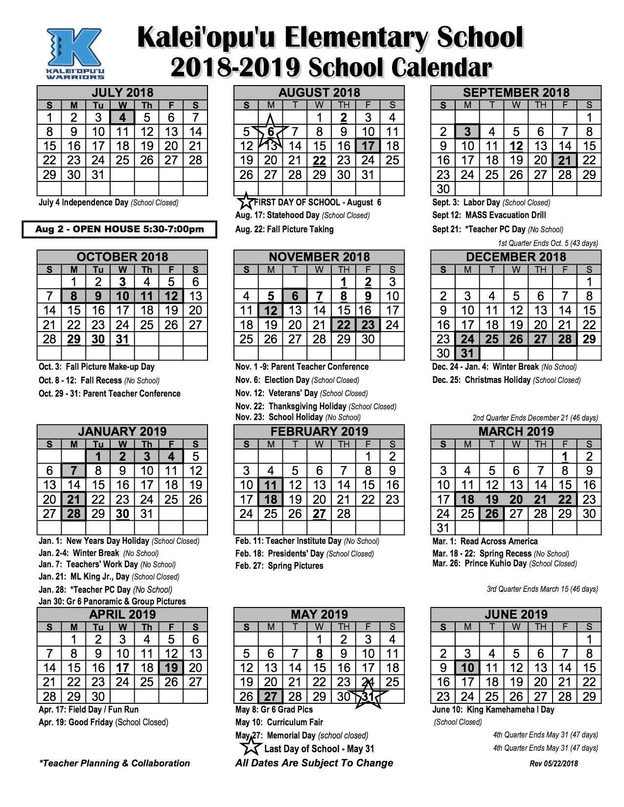 Calendar - Kaleiopuu Elementary U Of W Calendar 2019