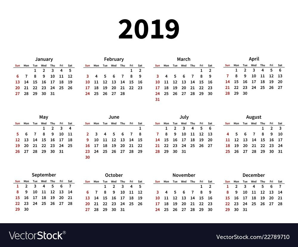 Calendar Layout For 2019 Year On White Background Vector Image Calendar 2019 Layout