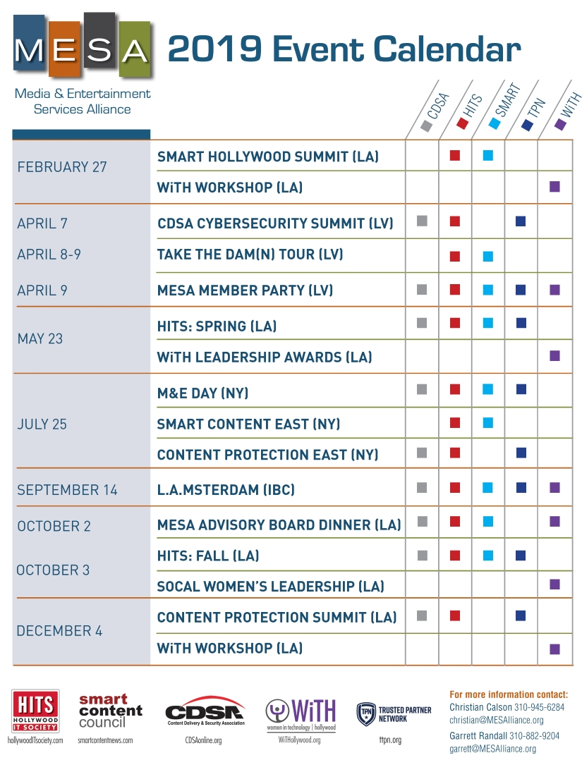 Calendar - Media & Entertainment Services Alliance Calendar 2019 Events