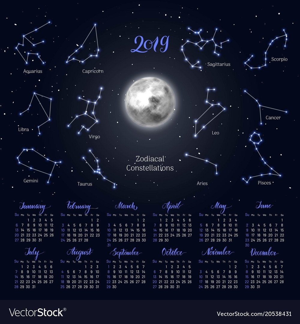 Calendar Moon Zodiac Constellations 2019 Night Vector Image Lunar Calendar 2019 Zodiac