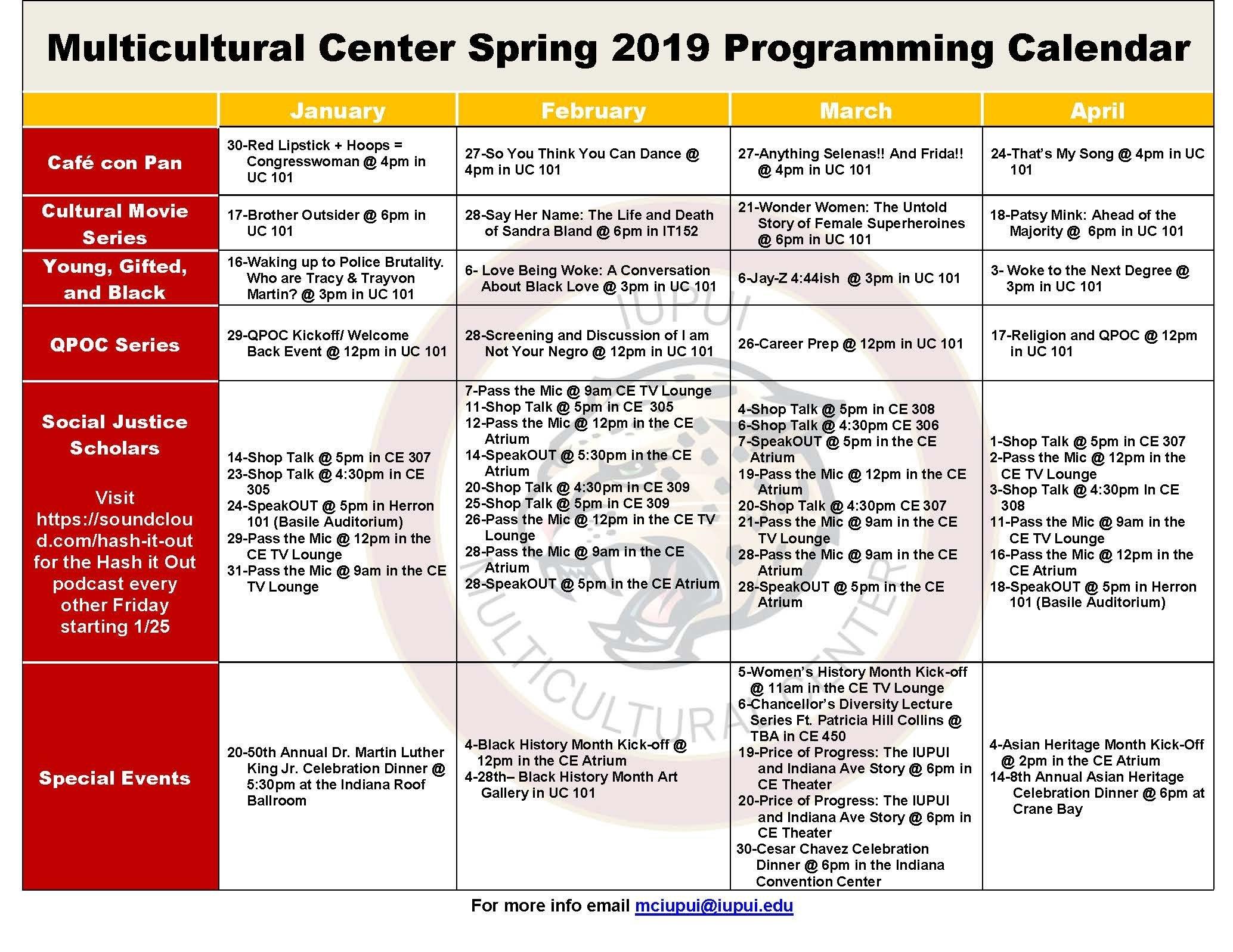Calendar: Multicultural Center: Offices & Centers: Division Of Indiana U Calendar 2019