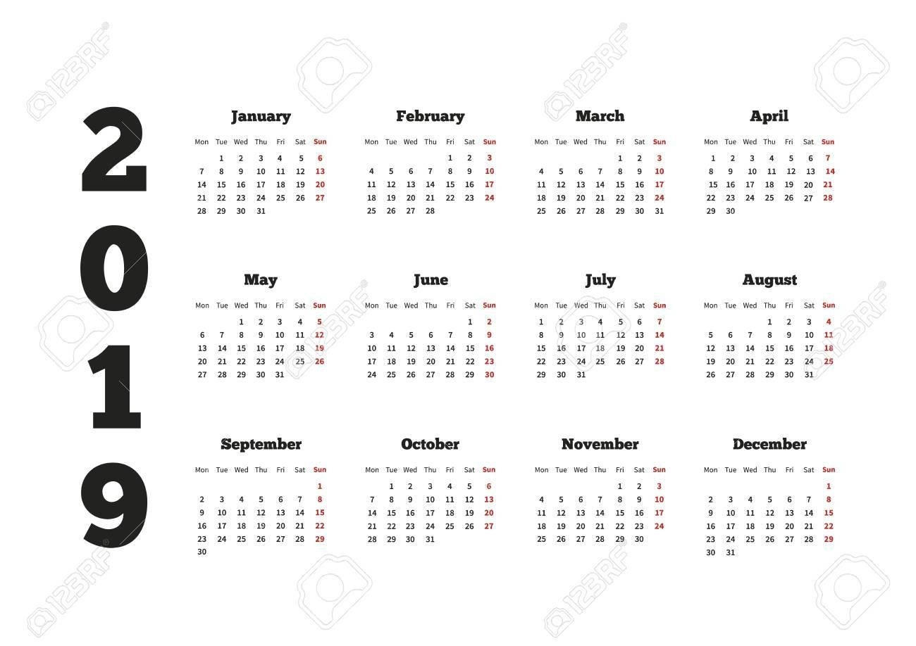 Calendar On 2019 Year With Week Starting From Monday, A4 Horizontal Calendar 2019 Monday Start