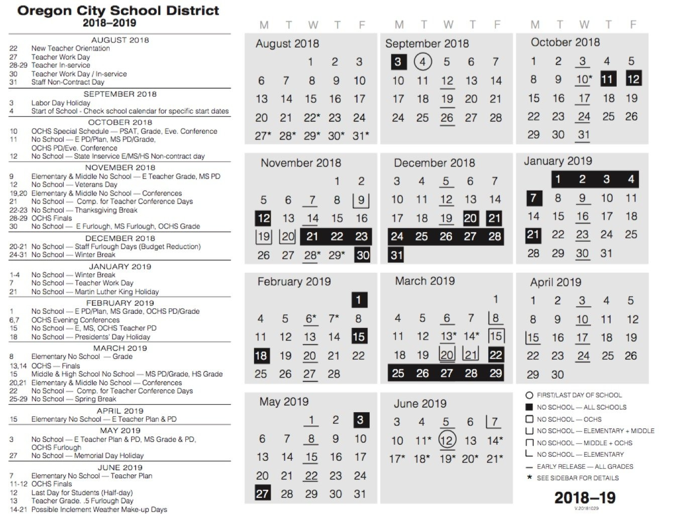 Calendar | Oregon City School District Ccsd Calendar 2019-20