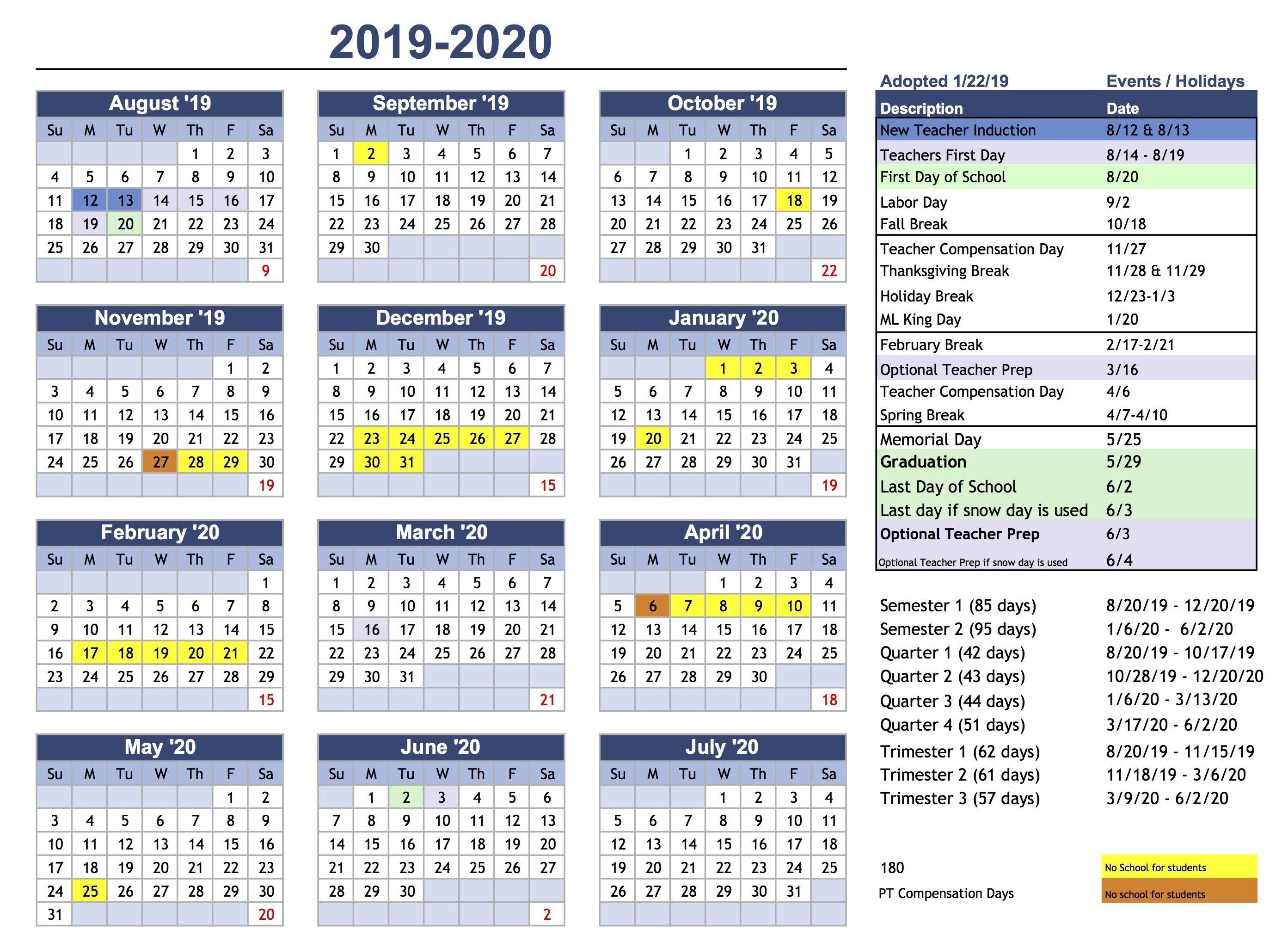 Calendar – Park City School District Ccsd Calendar 2019-20